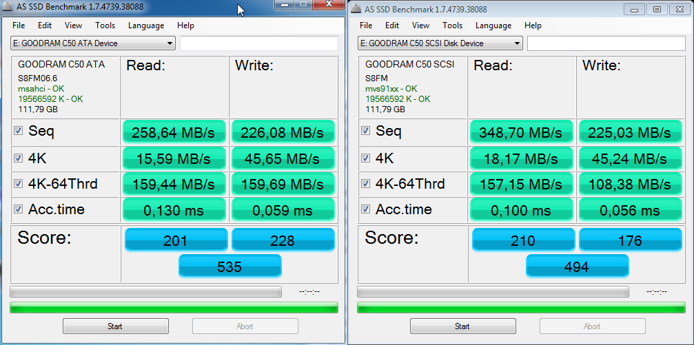 AS SSD benchmark dla C50
